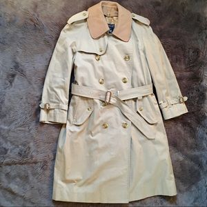 BURBERRY TRENCH COAT 38 SHORT Wool Collar Classic